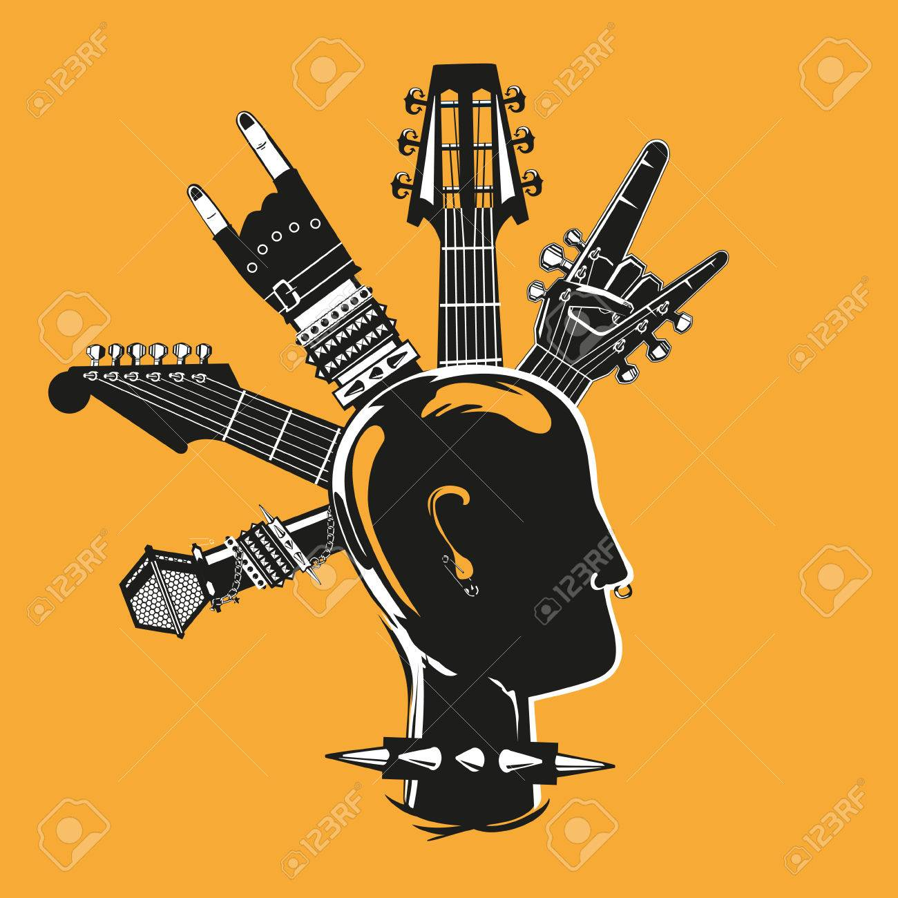 Punk silhouette with a music equipment - 49373613