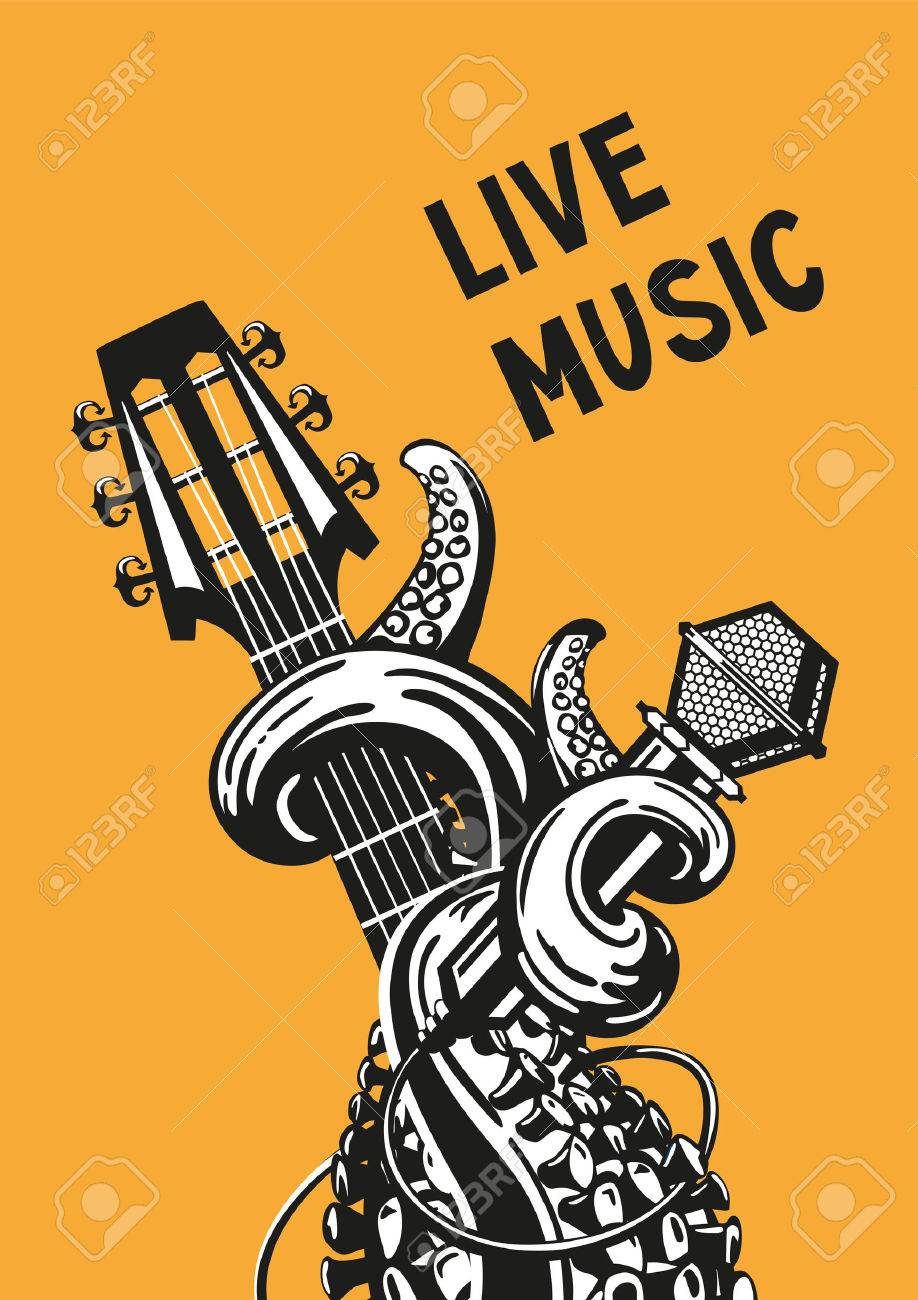 live music rock poster with a guitar microphone and tentacles