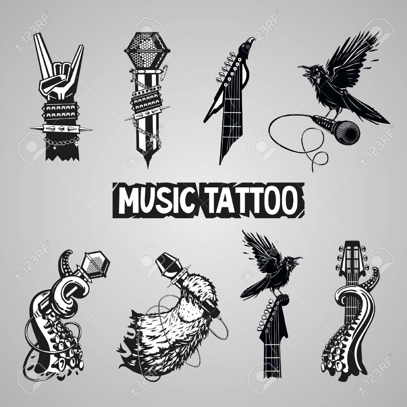 Music tattoo collection. Isolated rock sign. Set for music fans. Stock  Vector ,
