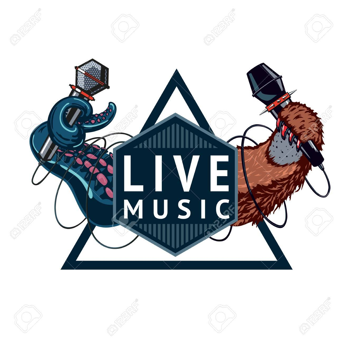 Live music event sign with two microphones. Isolated color emblem. - 51224264