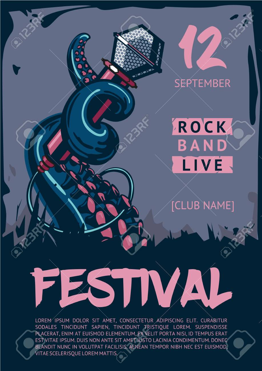 Octopus is holding microphone poster template for club festival octopus is holding microphone poster template for club festival concert and rock party maxwellsz