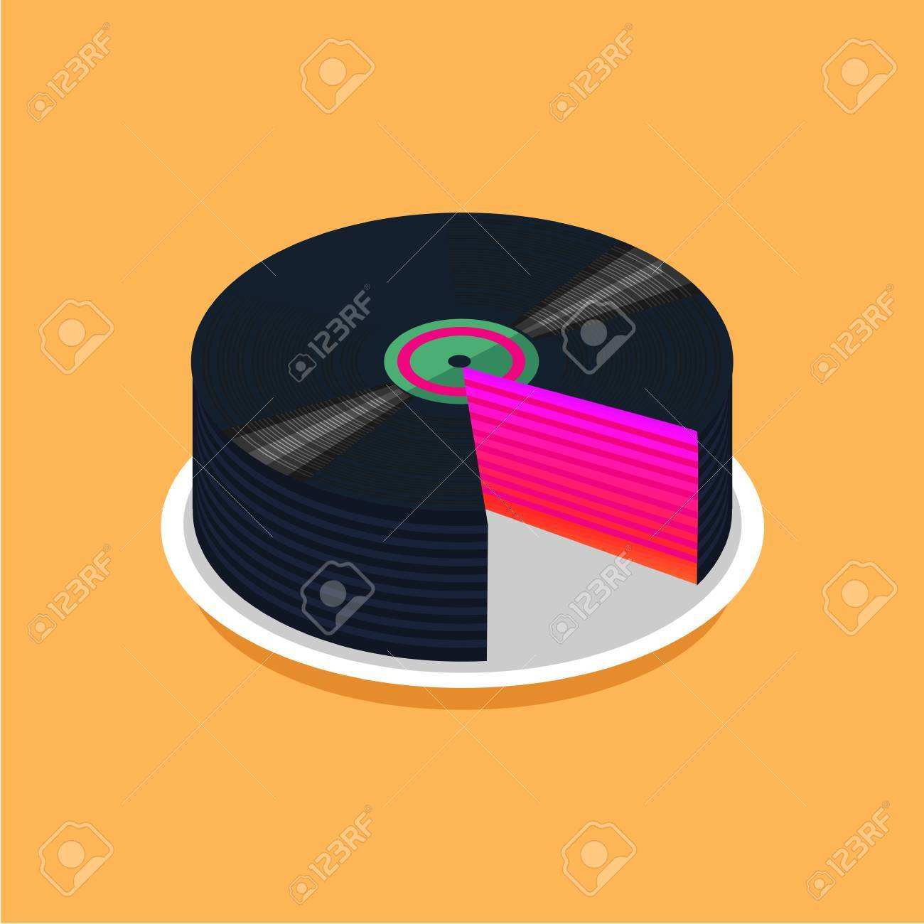 Swell Birthday Cake And Vinyl Disc Collection Vintage Music Poster Funny Birthday Cards Online Eattedamsfinfo