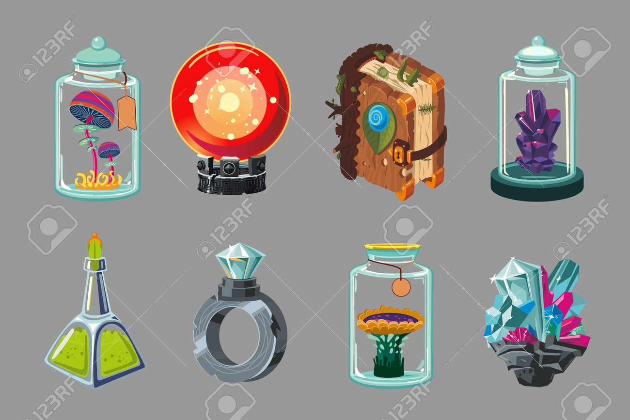 Cartoon icon set. Casual fantasy game design. Vector signs. Mobile app gui set. Concept art. - 167030439