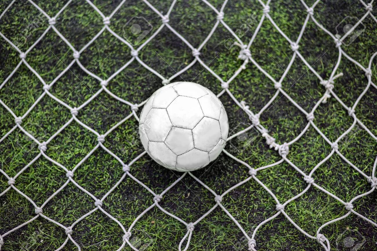Still football behind the goalkeeper net in centre position - 156352487