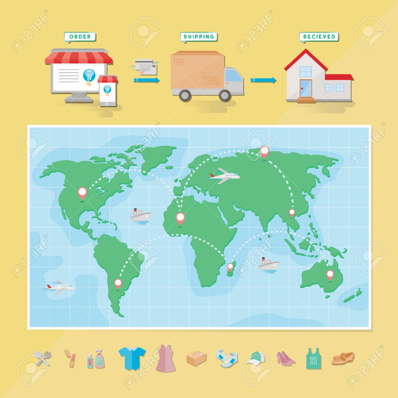 World map with set icon for online shopping icon set category vector world map with set icon for online shopping icon set category gumiabroncs Gallery