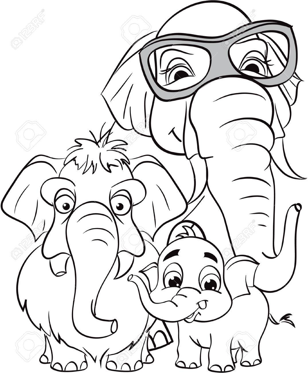 Outline Drawing Of The Family Of Elephants Royalty Free Cliparts ...