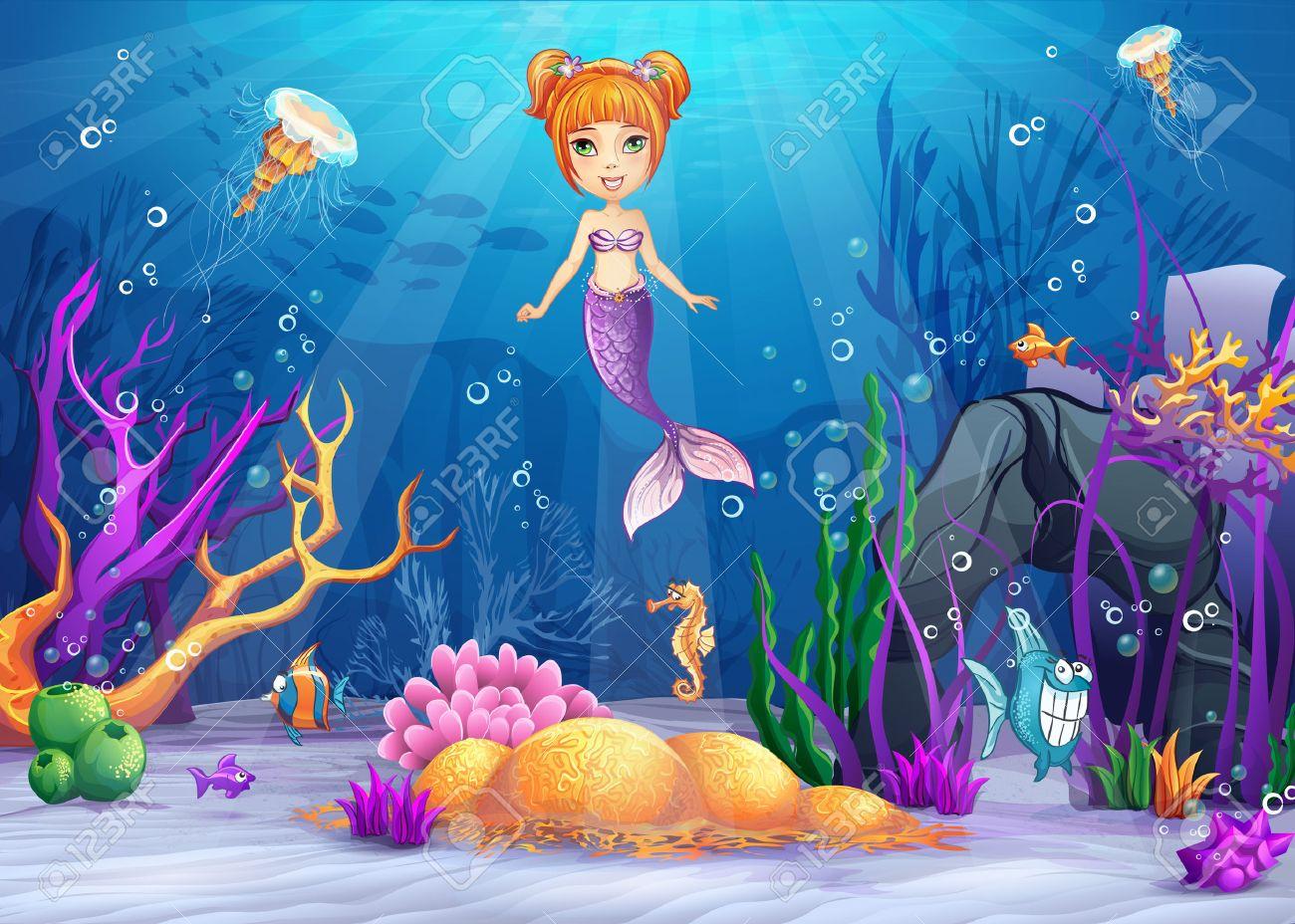 面白い魚と人魚の水中世界のイラストのイラスト素材ベクタ Image