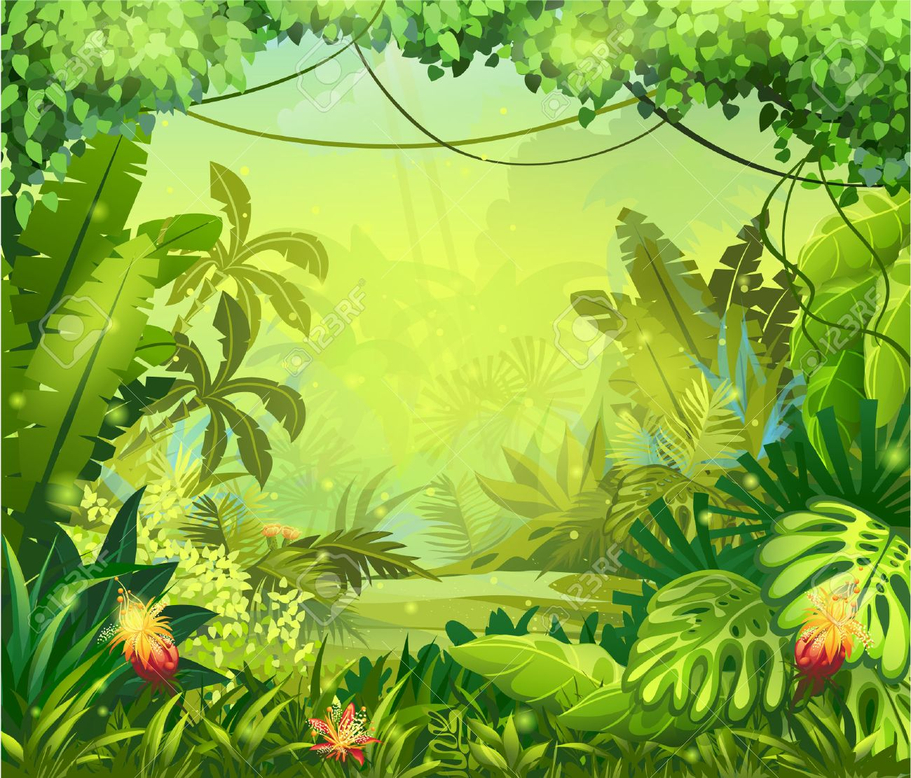 Illustration jungle with red flowers - 30922317