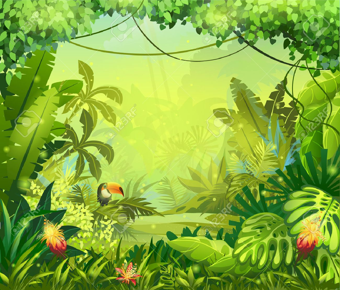 llustration with flowers and jungle toucan - 30922324