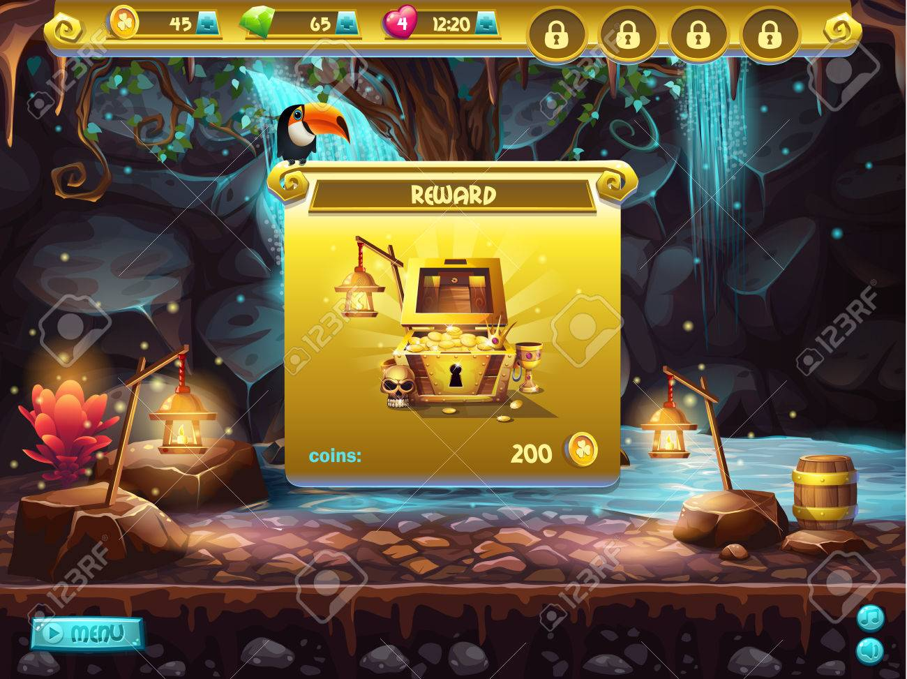 Example Of A User Interface For A Computer Game Treasure Hunt ...