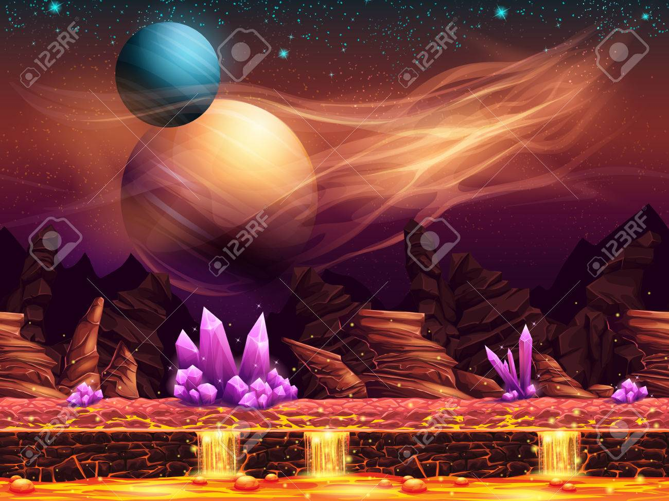 幻想的な風景 赤い惑星のイラストのイラスト素材ベクタ Image
