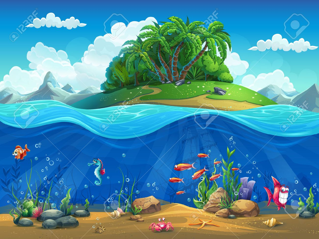 Fish tank drawing pictures - Aquarium Drawing Cartoon Underwater World With Fish Plants Island