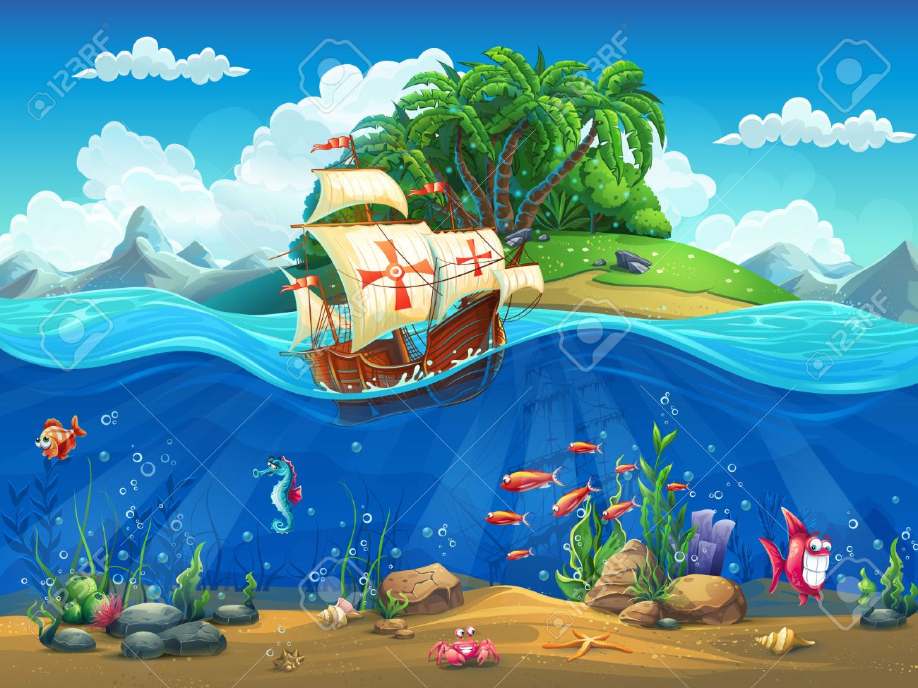 Cartoon underwater world with fish, plants, island and caravel - 45918748