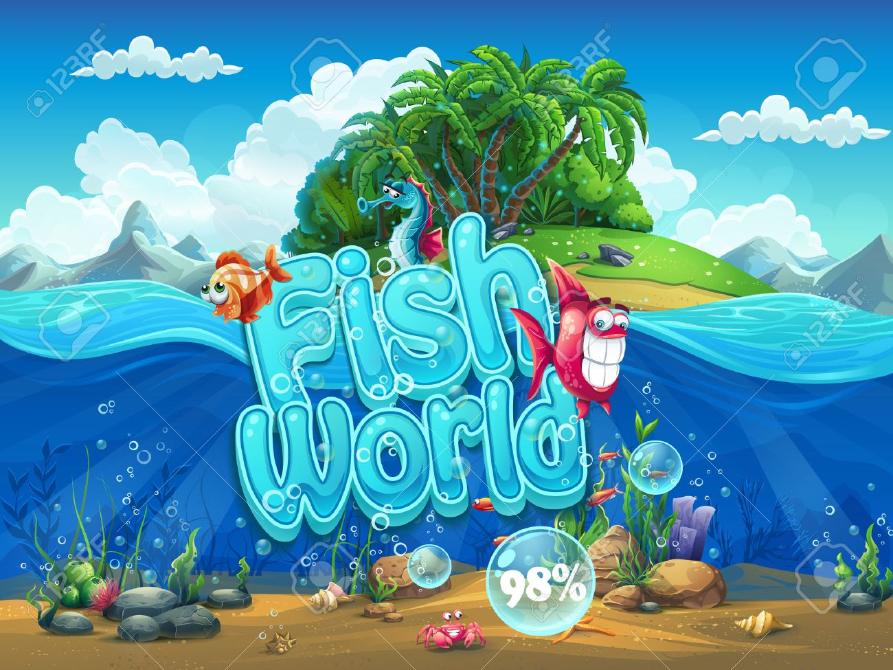 Fish World - Illustration boot screen to the computer game - 45918763
