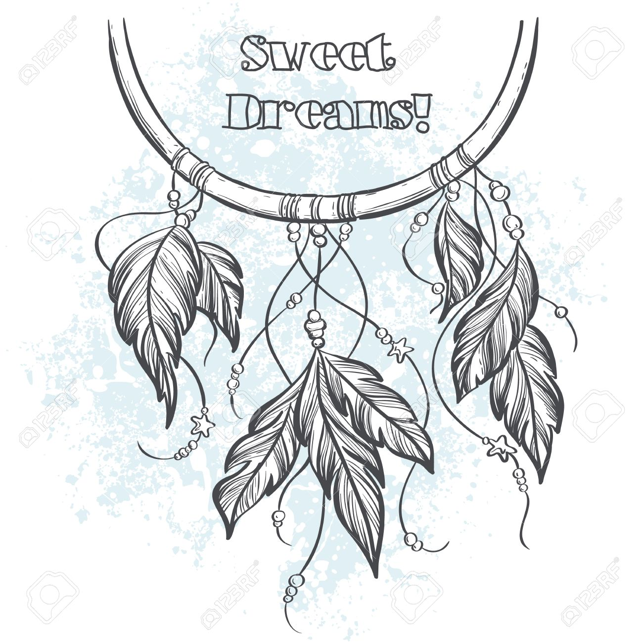 Dream catcher outline vector illustration with feathers - 46811814