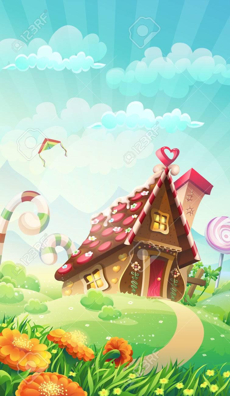 Cartoon candy house on the meadow - vector illustration - 47072647