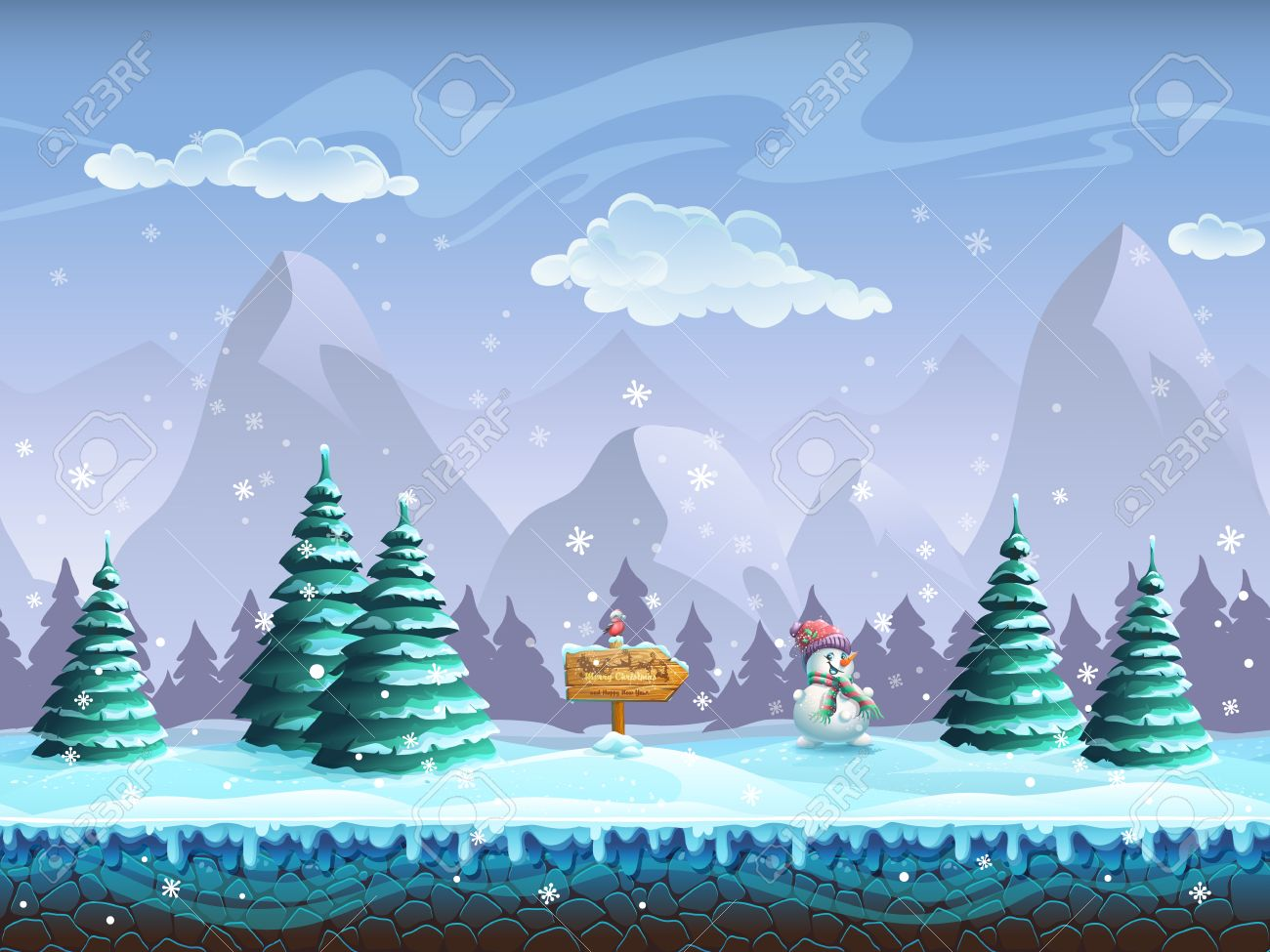 Seamless cartoon background with winter landscape sign snowman and bullfinch - 47748068