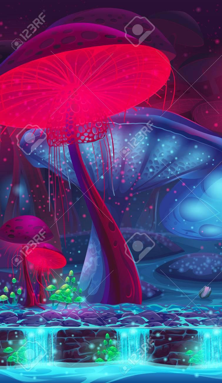 Magic Mushroom Hollow - mystical vertical vector background for game design - 51305167
