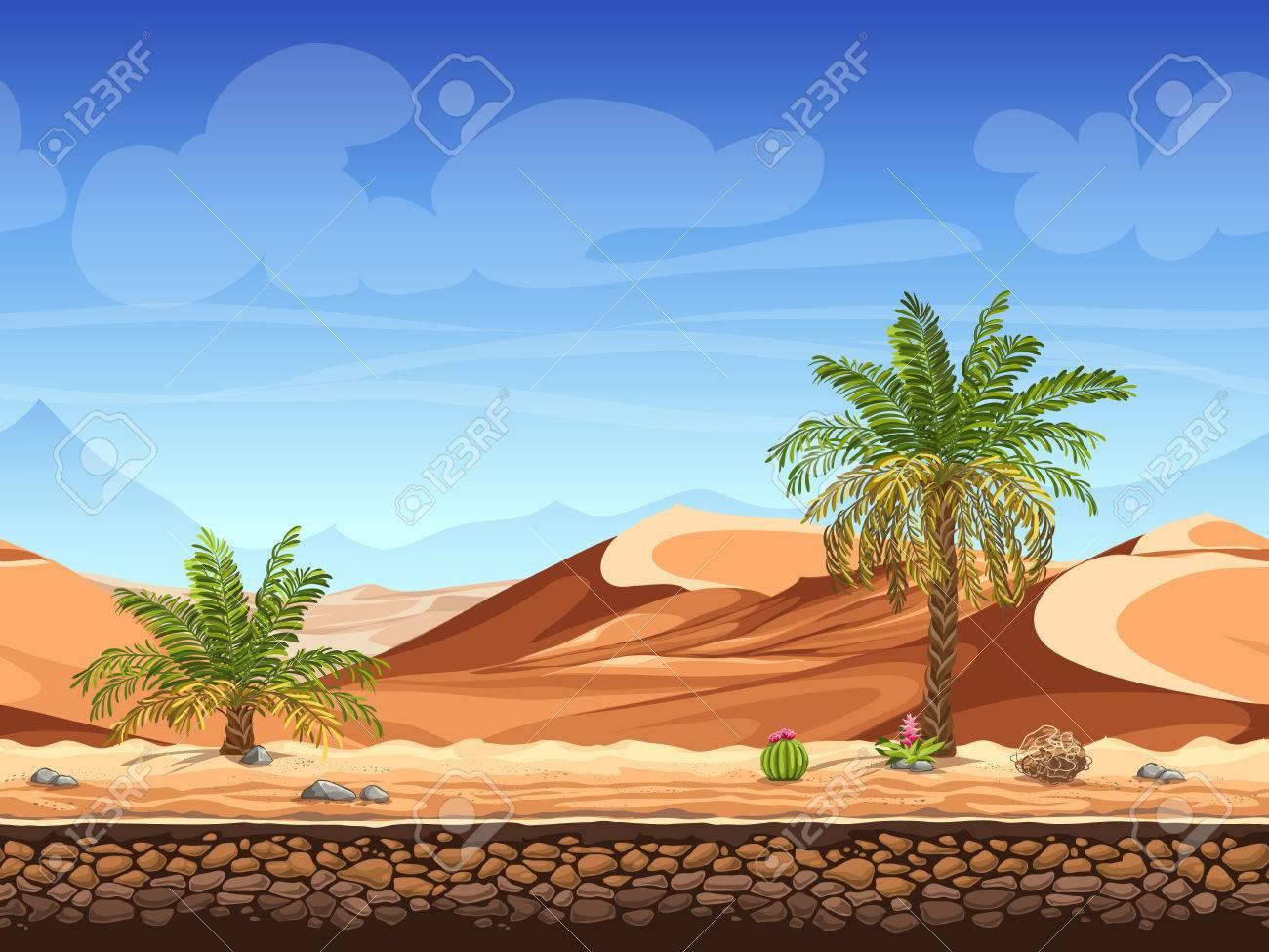 Vector illustration - seamless background - palm trees in desert - for game design - 51305170