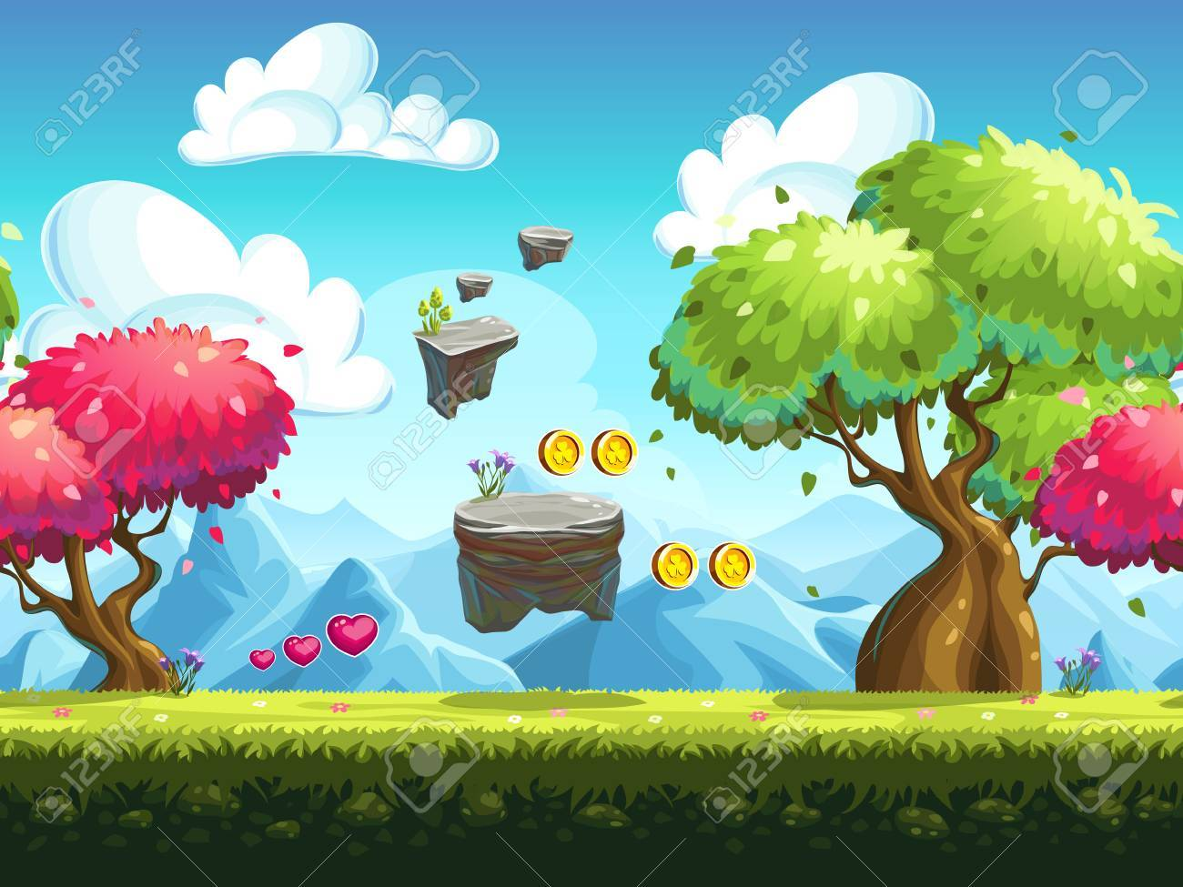 Seamless background flying rocks and colorful trees in the forest against the backdrop of the mountains - 51305169