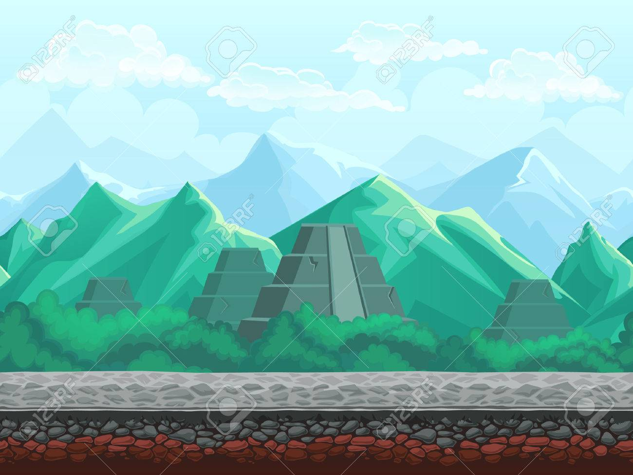 Illustration seamless background of the pyramid in the emerald illustration seamless background of the pyramid in the emerald mountains for mobile game user interface kristyandbryce Images