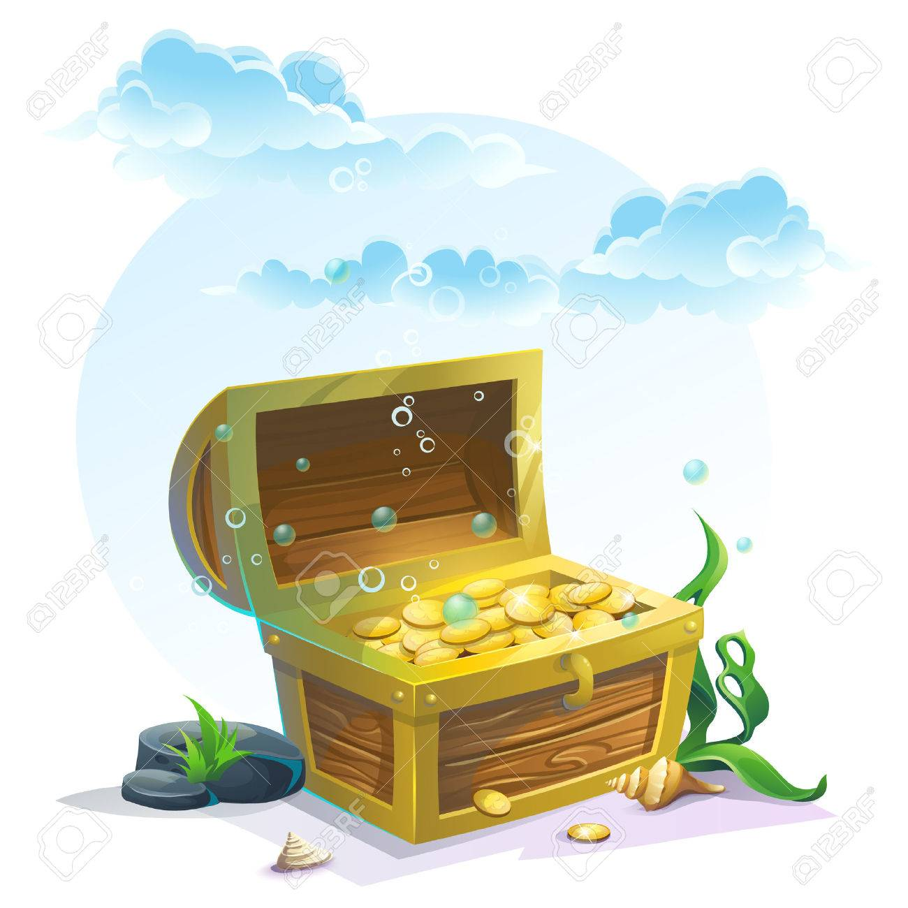Chest of gold in the sand under the blue clouds - vector illustration for design, banners, textures, backgrounds, postcards - 54432098
