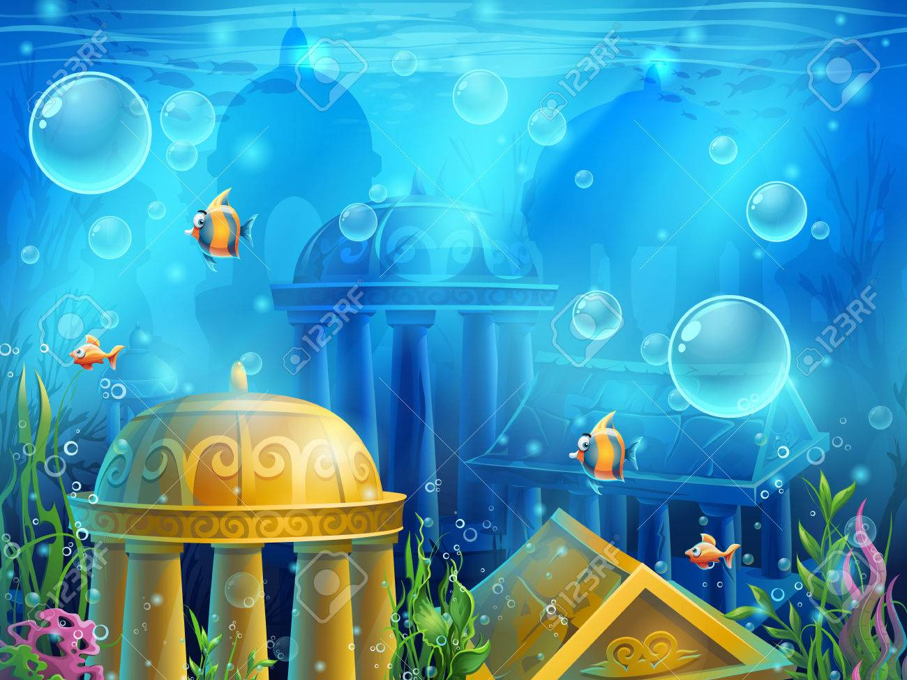 Atlantis ruins - background illustration screen to the computer game. Bright background image to create original video or web games, graphic design, screen savers. - 56046706