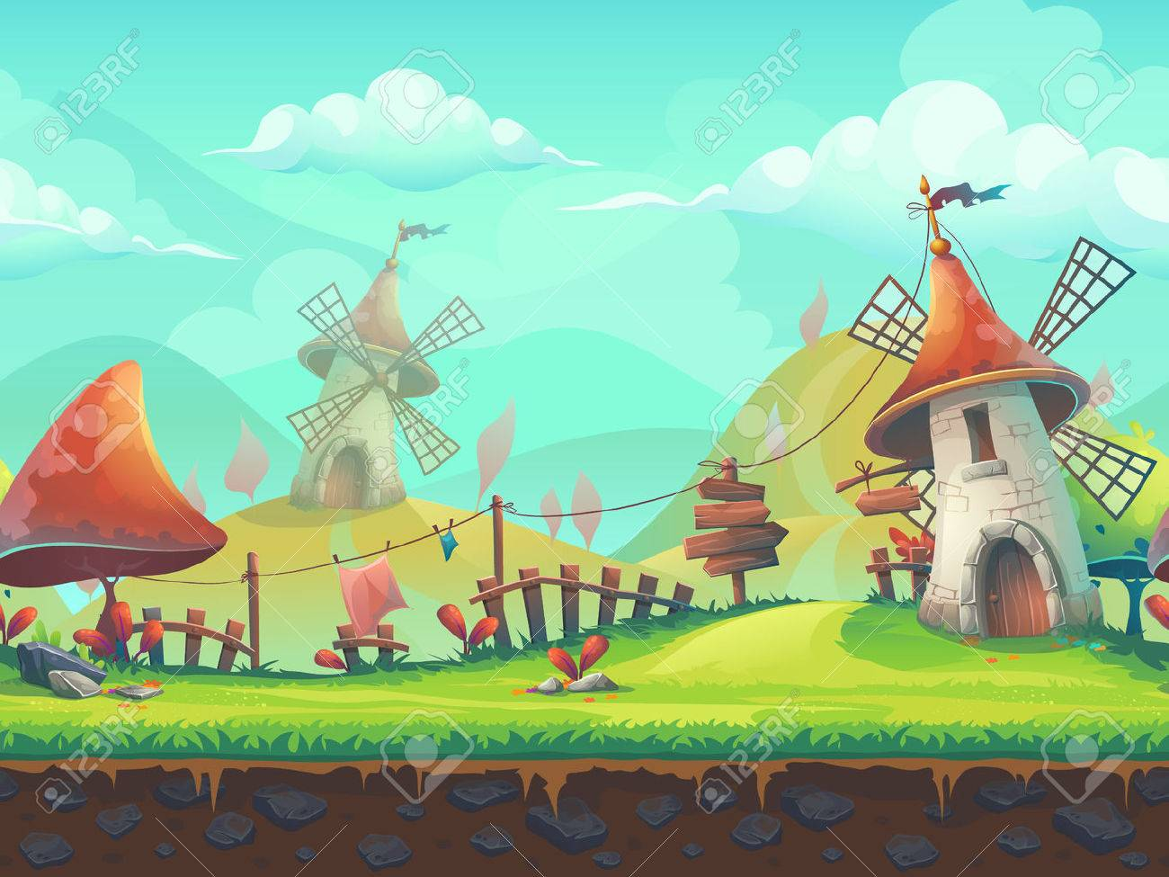 Seamless cartoon stylized illustration on the theme of the European landscape with a windmill. For print, create videos or web graphic design, user interface, card, poster. - 56719616