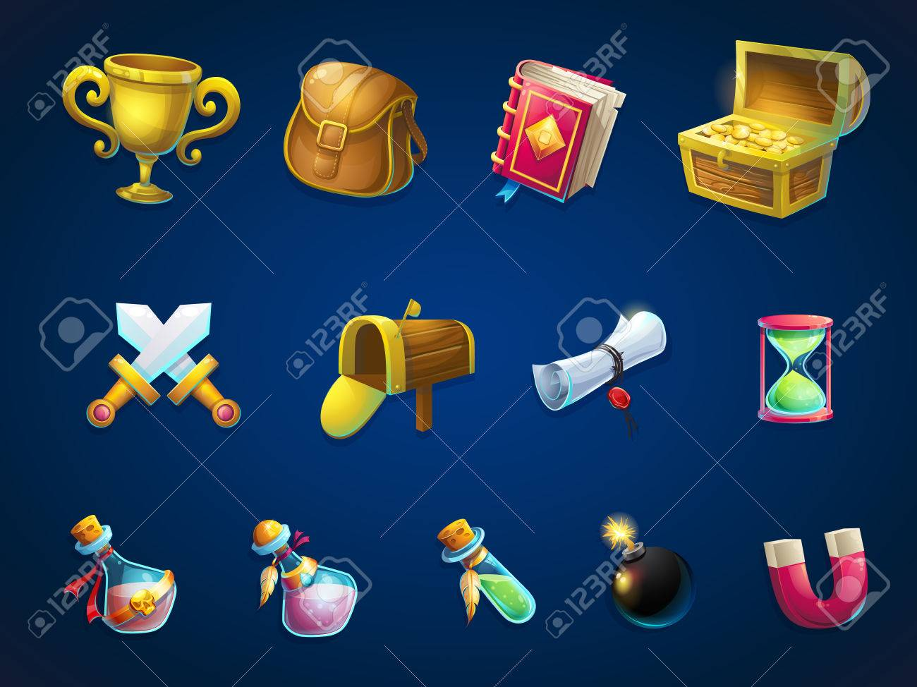Set of different items. background illustration screen to the computer game Atlantis ruins. Bright background image to create original video or web games, graphic design, screen savers. - 57963106