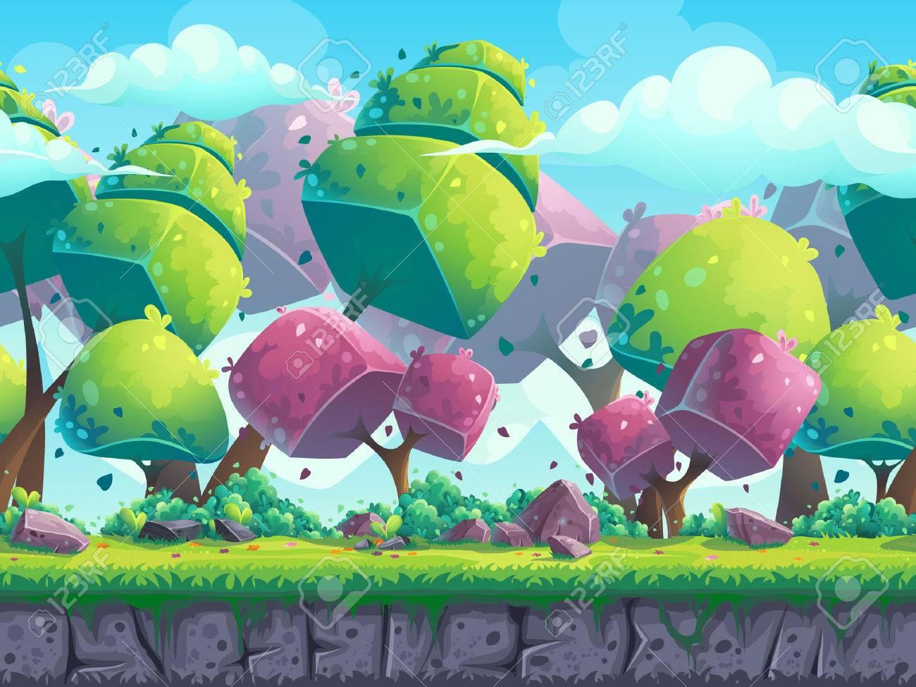 Seamless cartoon natural landscape with futuristic trees - 59195360