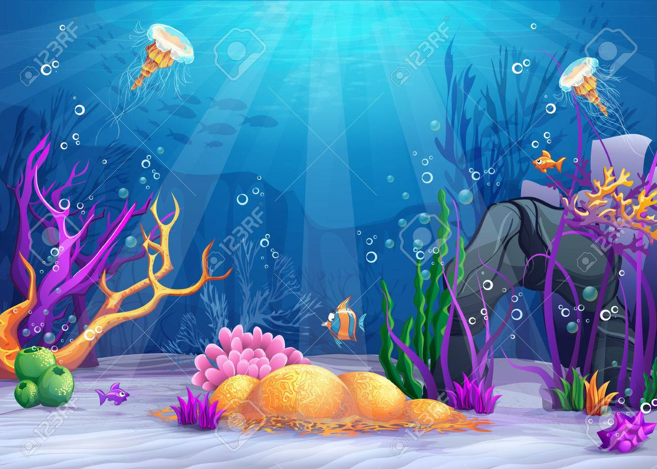 Marine Life Landscape - the ocean and underwater world with different inhabitants. For print, create videos or web graphic design, user interface, card, poster. - 60008737