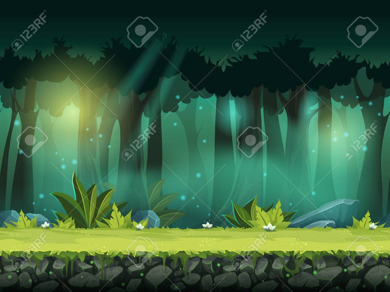 horizontal seamless illustration of forest in a magical mist - 62241272