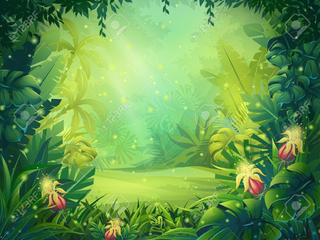 vector cartoon illustration of background morning rainforest rh 123rf com jungle cartoon background free jungle background cartoon clipart