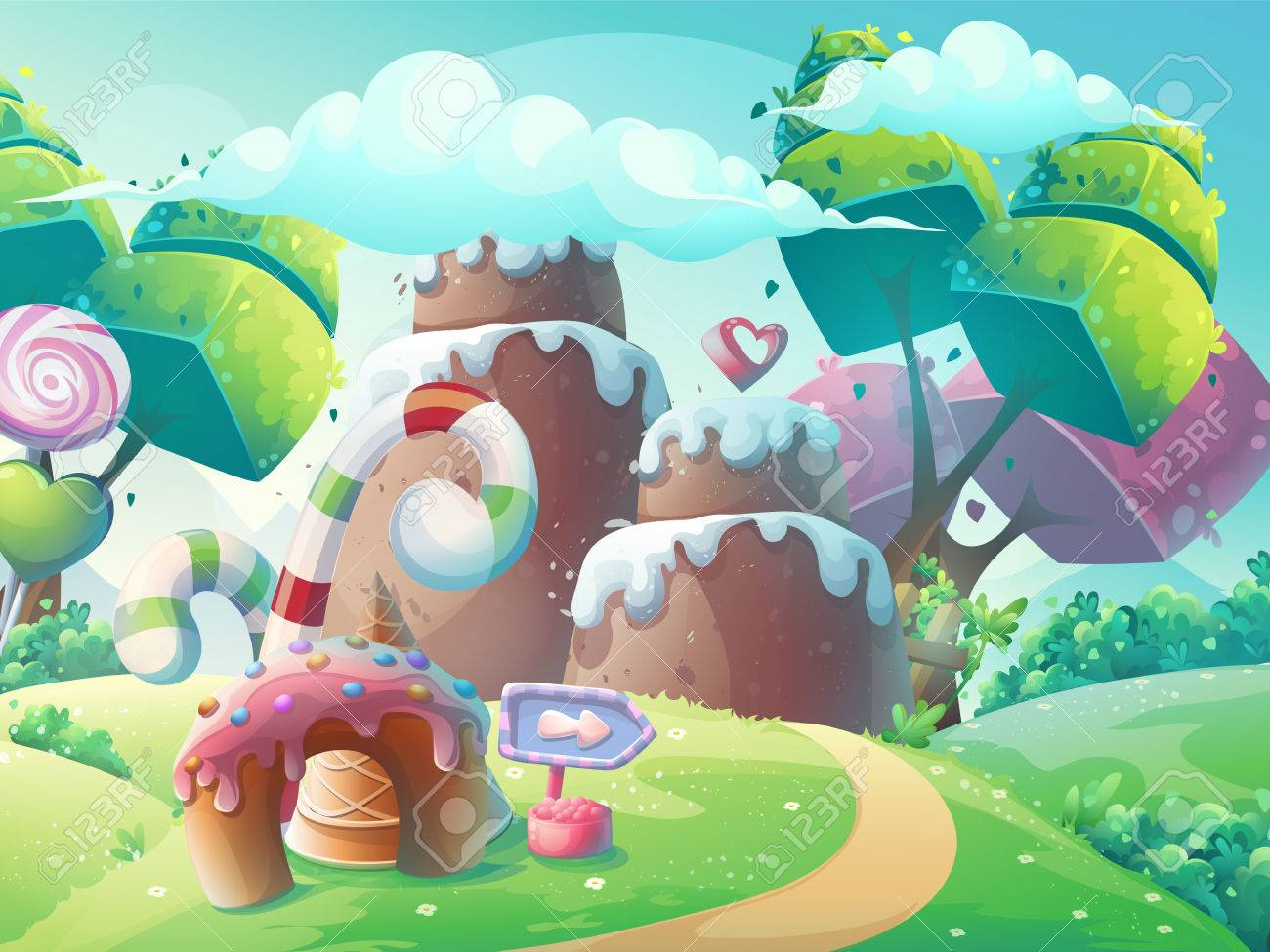 Vector cartoon illustration background sweet cake with fantasy trees - 67847132