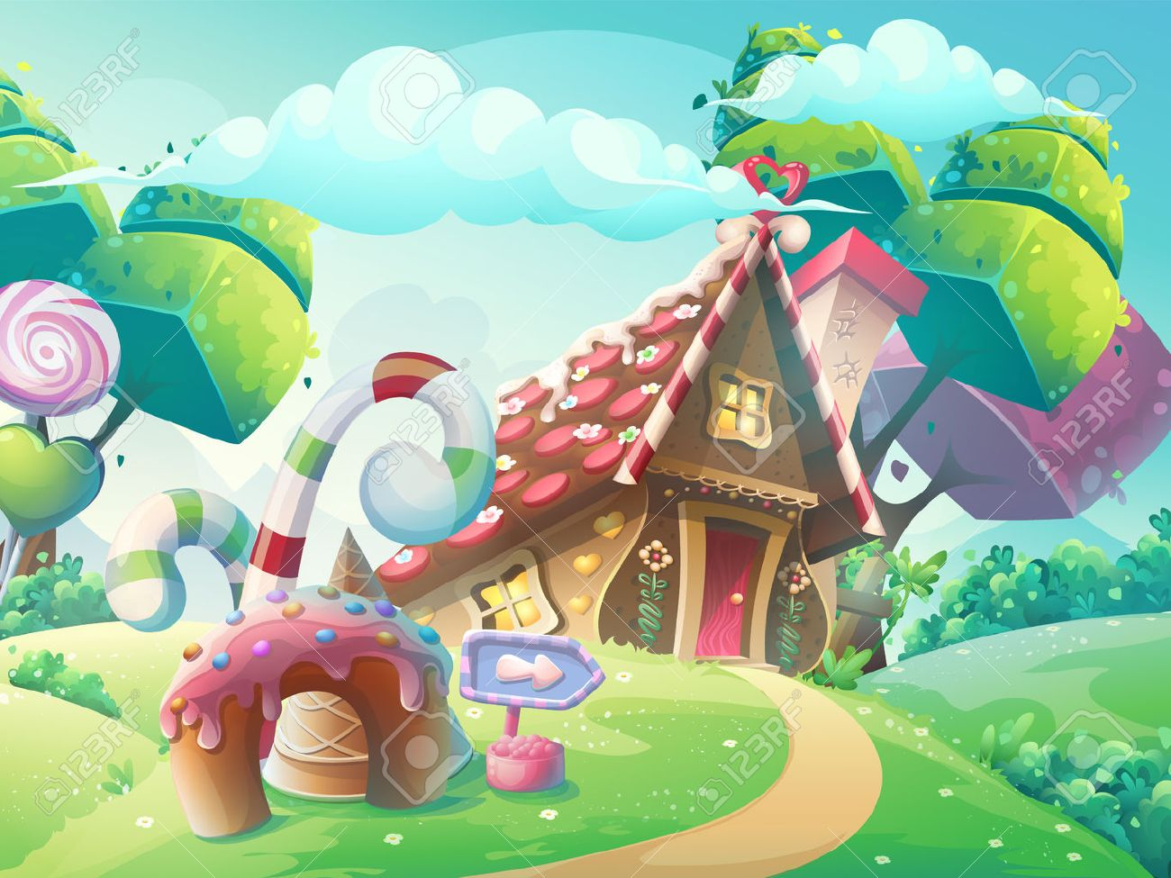 Vector cartoon illustration background sweet candy house with fantasy trees, funny cake and caramel - 67847136