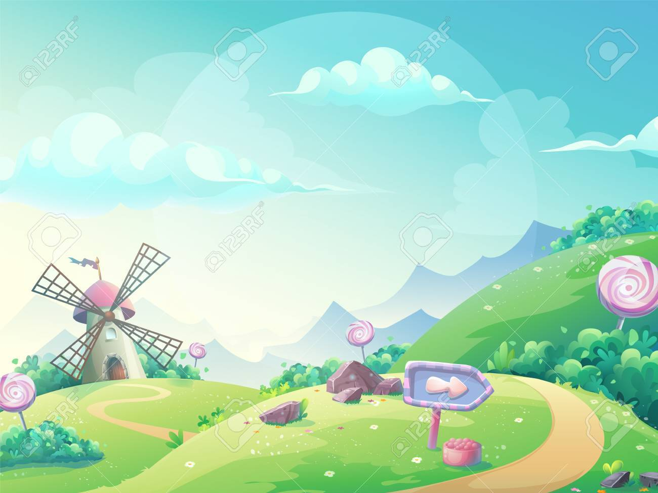 Landscape illustration with marmalade candy mill. - 73671263