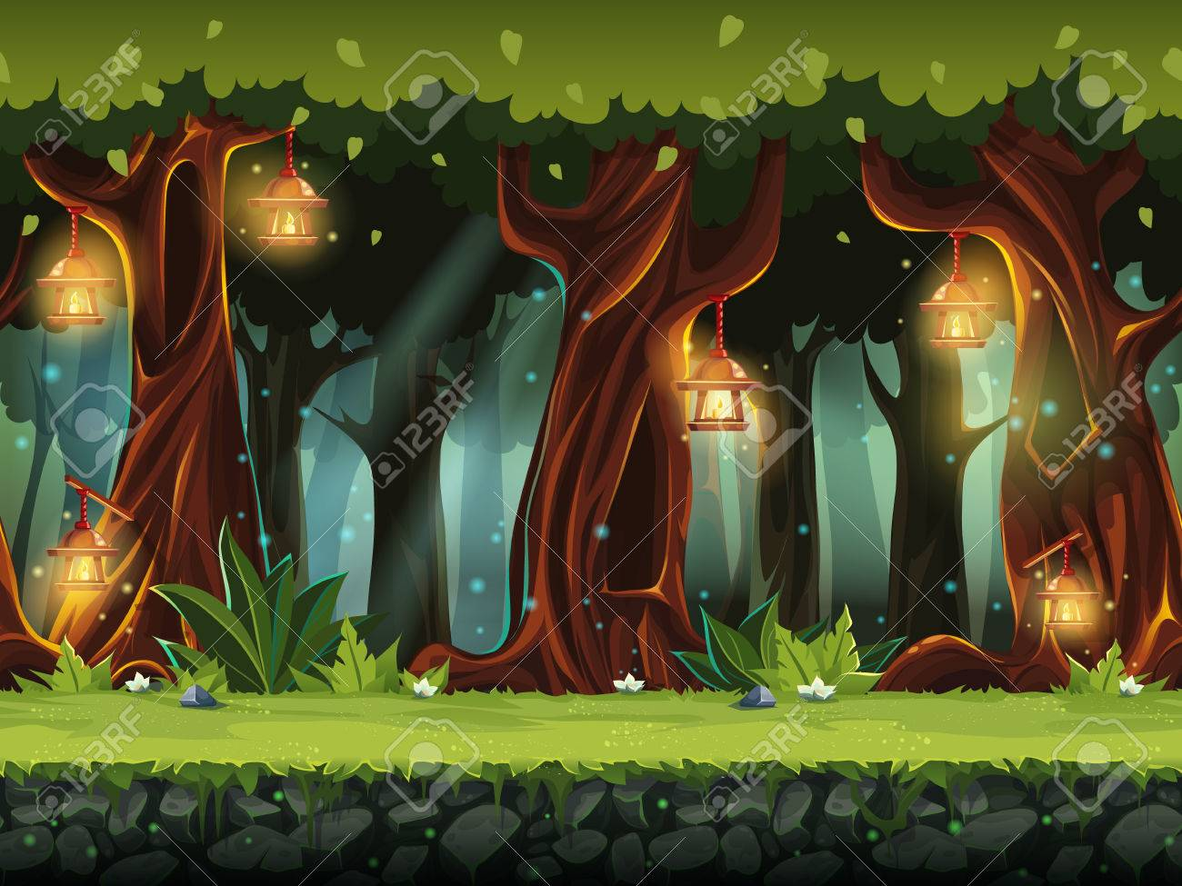 Vector cartoon illustration of the fairy forest. - 71567087