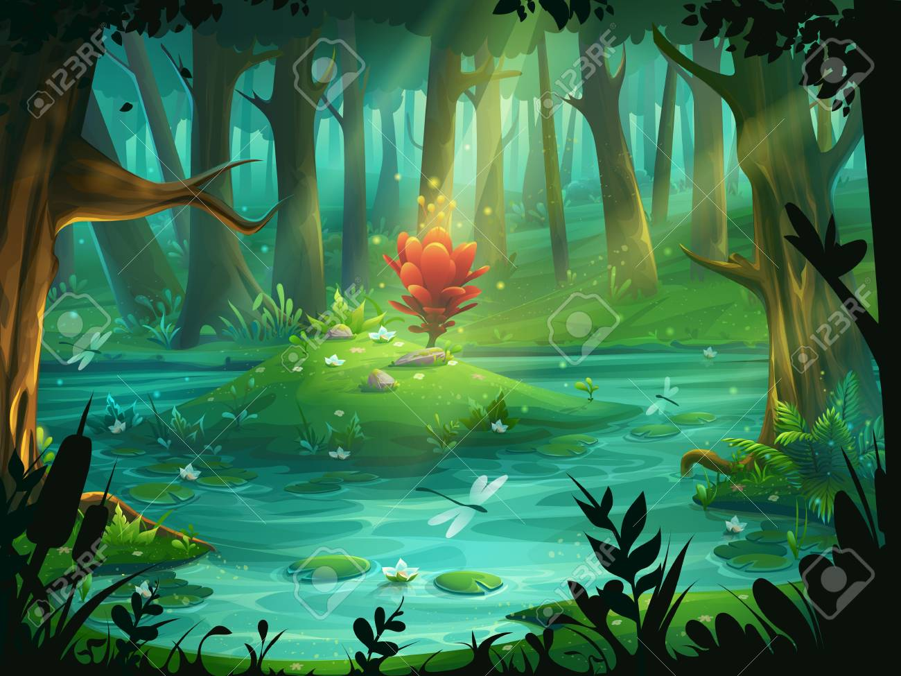 The Scarlet Flower on an island in a swamp in the forest - 93594061