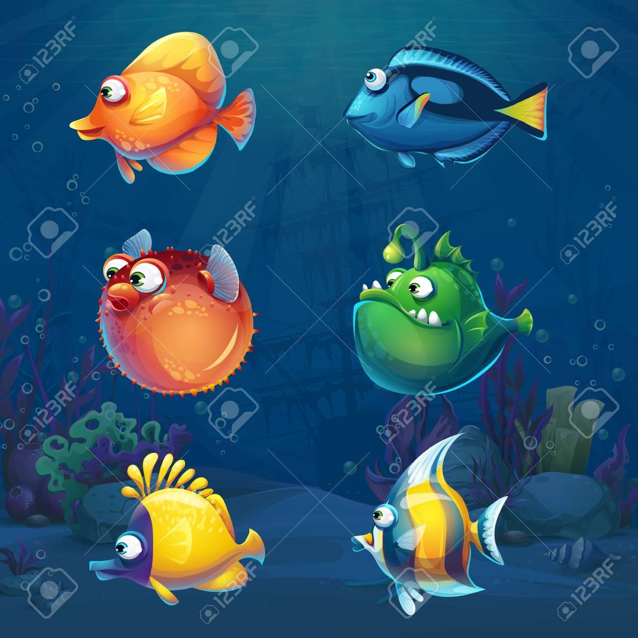 Set of cartoon funny fish in underwater world - 104302077