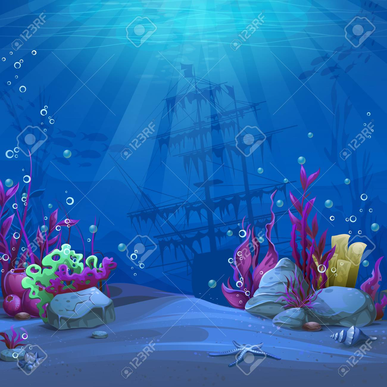 Undersea world in blue theme. Marine Life Landscape - the ocean and the underwater world with different inhabitants. For design websites and mobile phones, printing. - 114785778