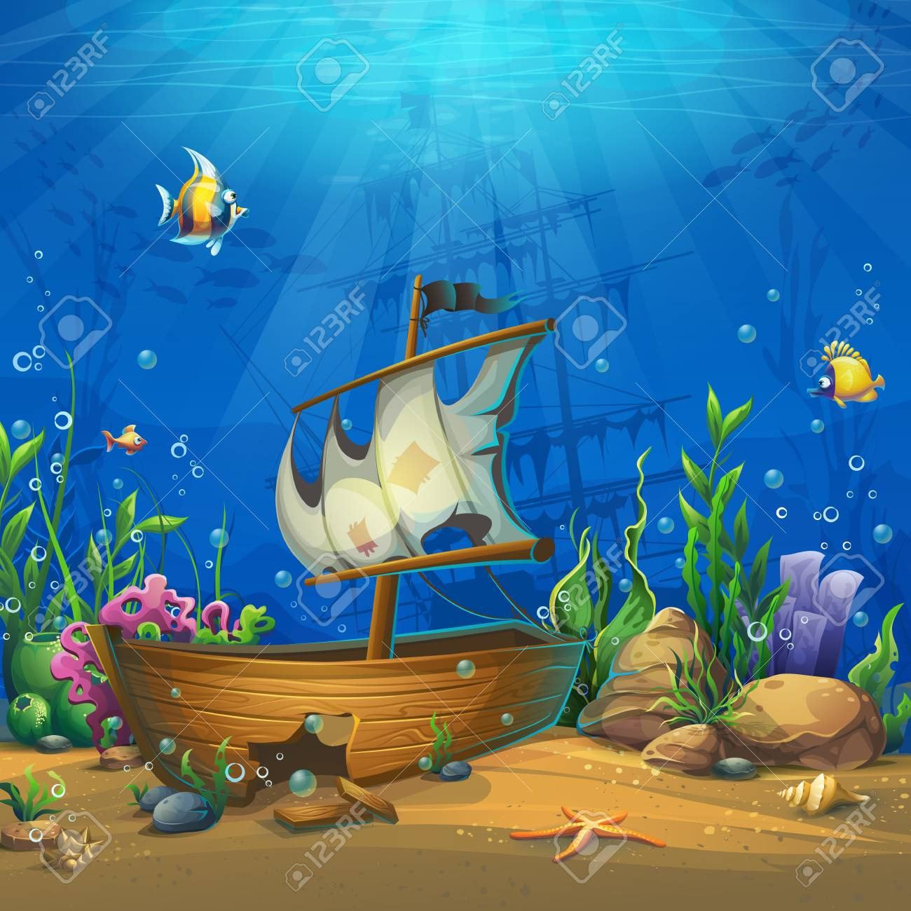 Undersea world with ship - 106202793