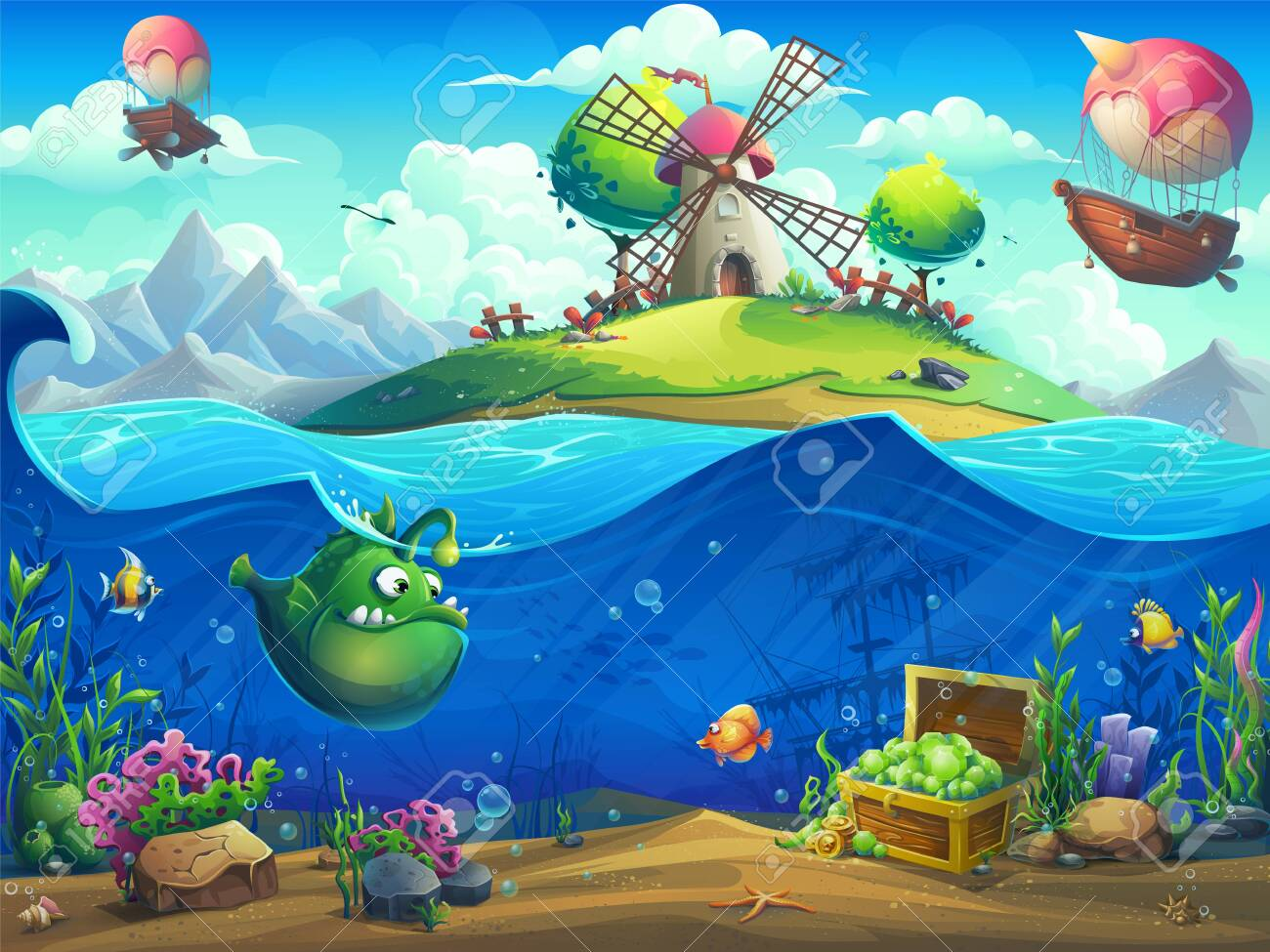 Marine life landscape - the ocean and the underwater world with different inhabitants. For design websites and mobile phones, printing. - 123637088