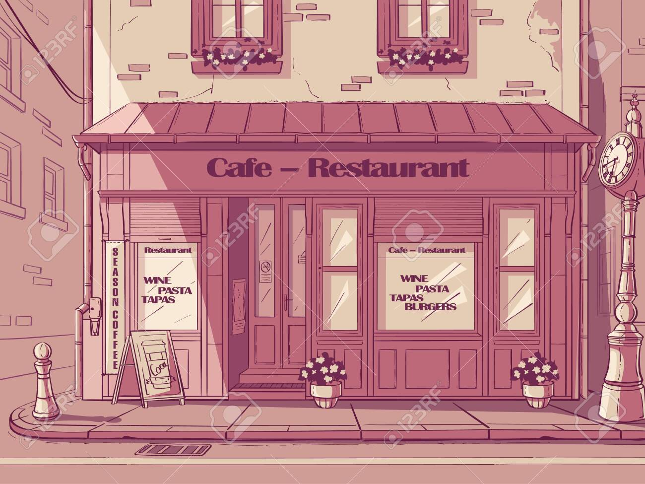 Vector Cartoon Background Cafe In The Hungary Royalty Free Cliparts Vectors And Stock Illustration Image 140412909