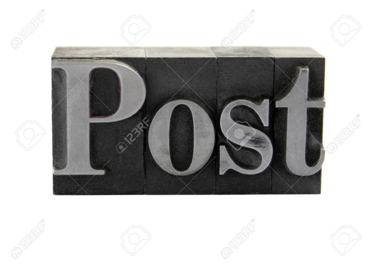 old, ink-stained metal letterpress type spells out the word 'Post' isolated on white Stock Photo - 1490369