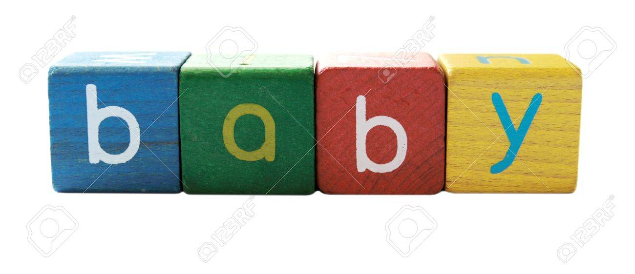 stock photo the word baby in colorful childrens block letters isolated on white