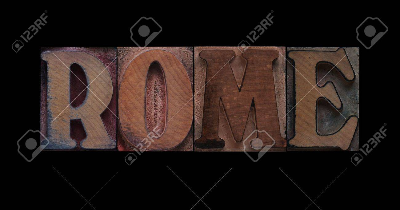 the word Rome in old letterpress wood type Stock Photo - 7372505