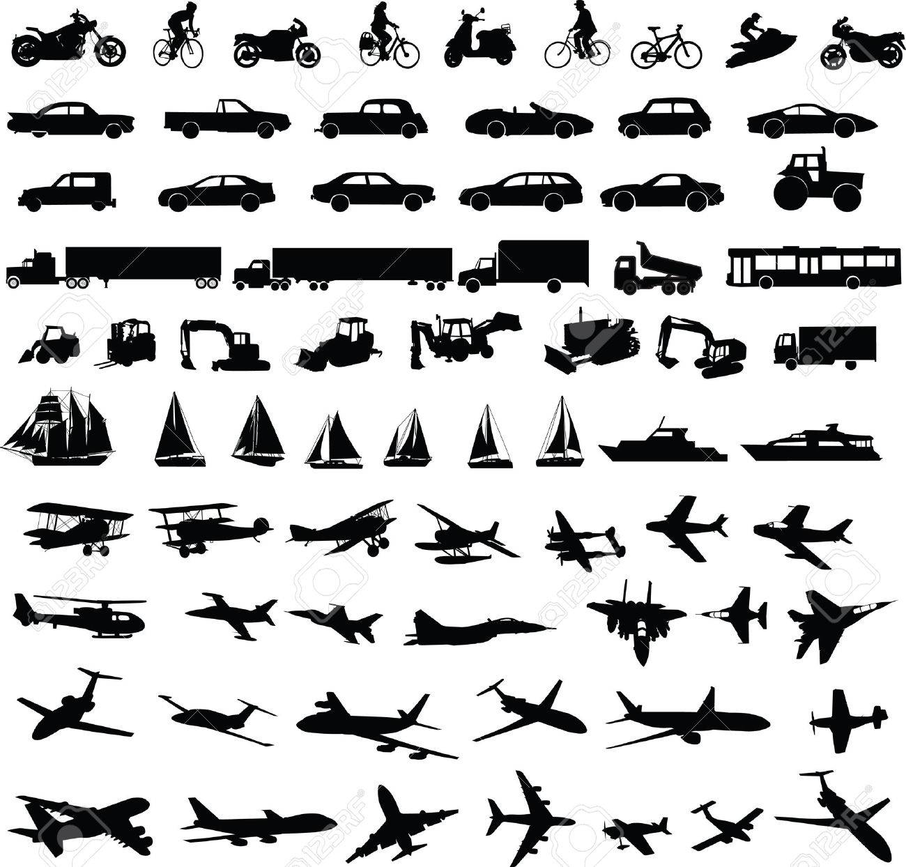 transportation silhouettes collection - vector Stock Vector - 4419883