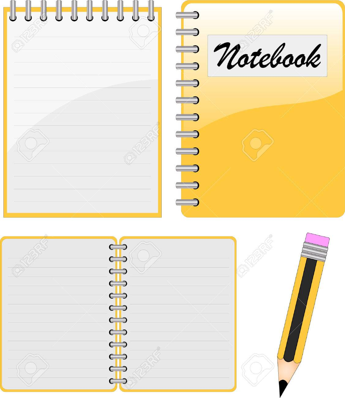 notebook, notepad and pencil Stock Vector - 5006279