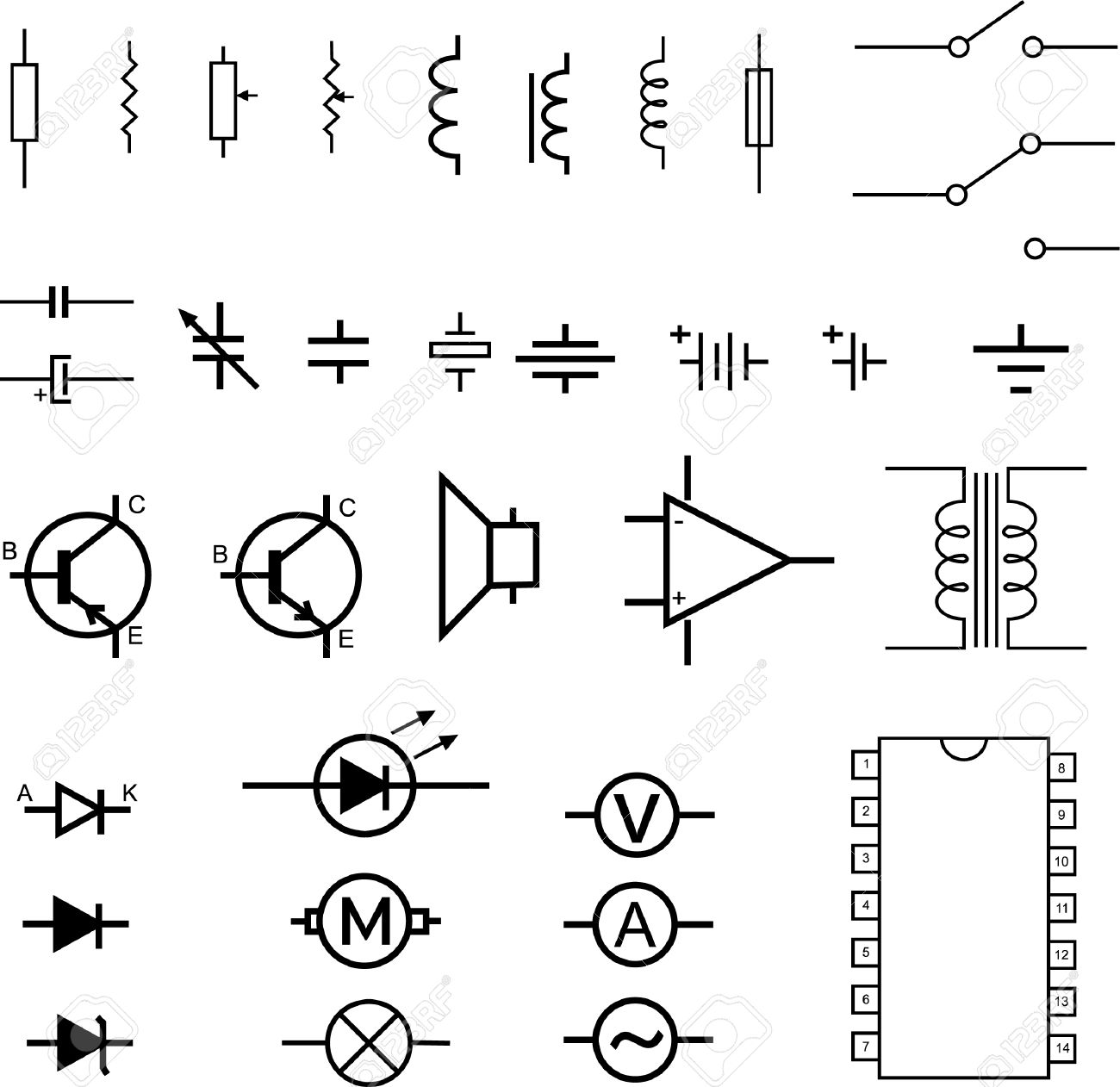 Electronic Symbols - Vector Royalty Free Cliparts, Vectors, And ...
