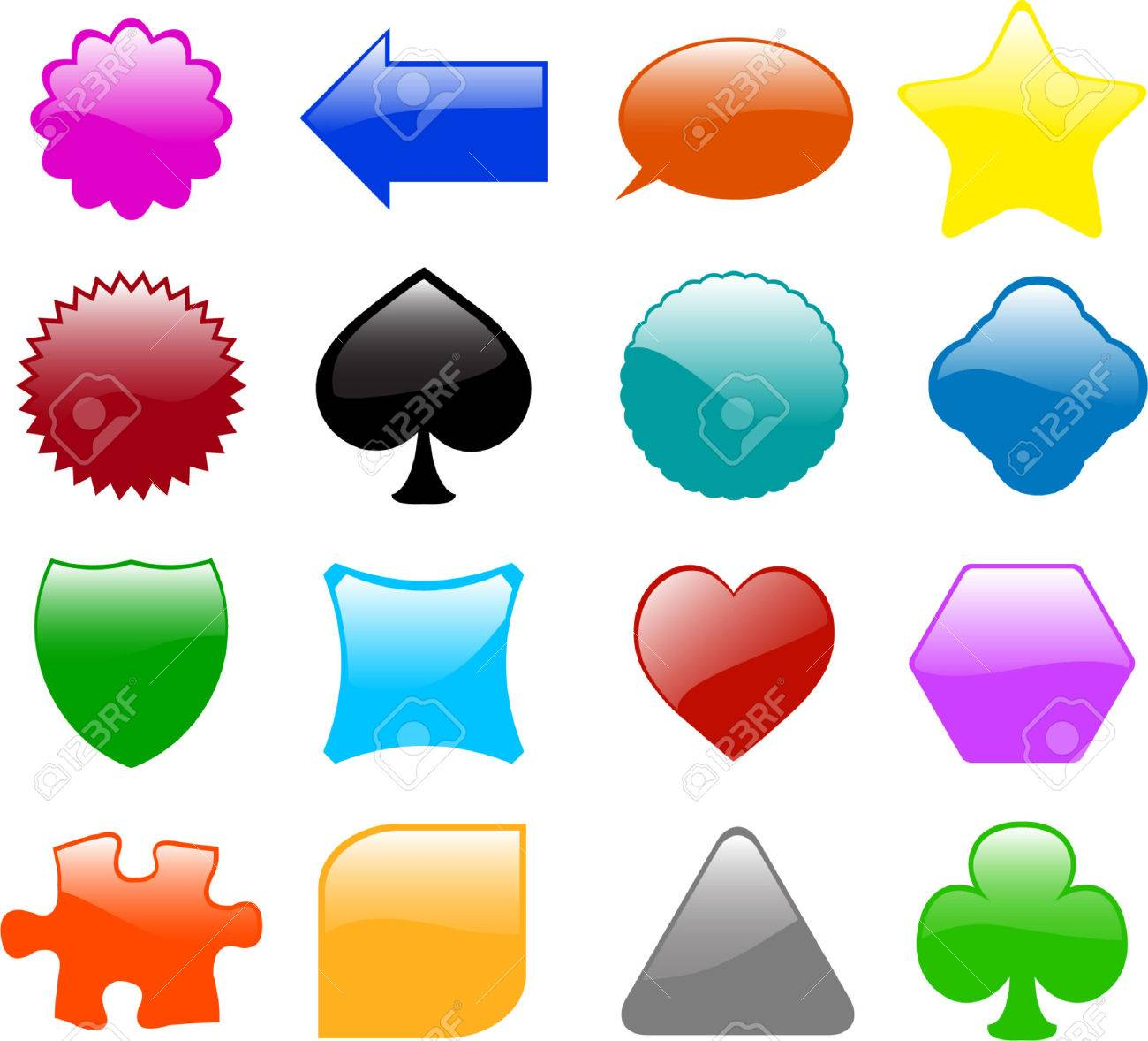 set of sixteen different glossy shapes - vector Stock Vector - 5204163